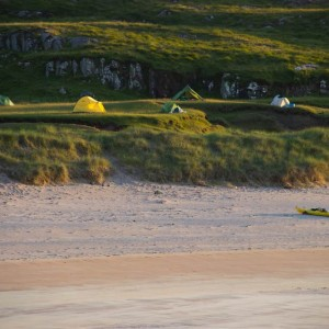 Wild camping near the Northern tip of Rum whilst out on a sea kayak expedition.