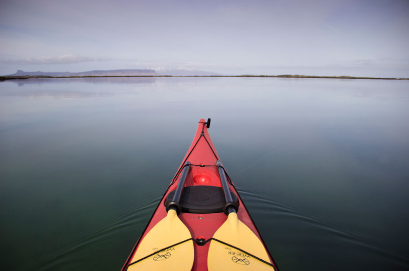 A sea kayak at the Arisaig Skerries on the west coast of Scotland.