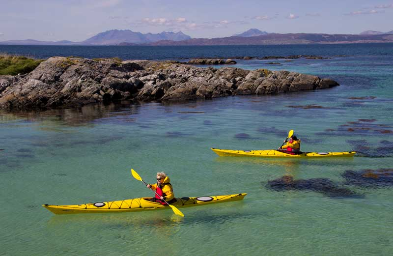Sea kayaking in the Arisaig Skerries.