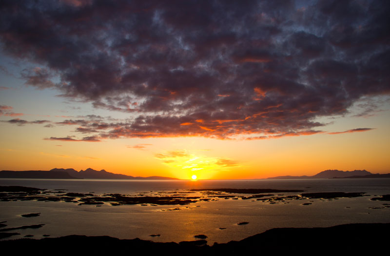 Sunset seen from Arisaig on the West coast of Scotland.
